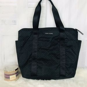 Tommy Hilfiger Black Vinyl and Vegan Trim Tote